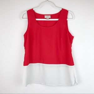 LOFT Sleeveless Blouse Red/Cream Petite sz MP